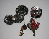 Antique Brooch Lot Shell Baroque Pearl Brooch Green Stone brooch Made In France  ALP Italy Brooch 1900s Brooch Lot