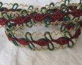 1 yd VINTAGE Burgundy Flower Gold Metallic Sewing APPLIQUE Trim