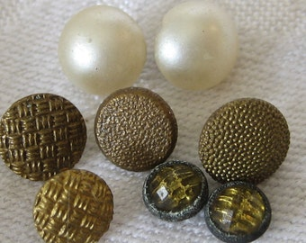 4 Lot of Sets of 2 Tiny VINTAGE Glass Metal & Faux Pearl BUTTONS T3
