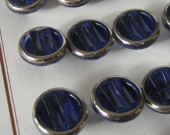 Set of 4 VINTAGE Small Ridge Cobalt Blue with Silver Trim BUTTONS