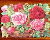New Victorian Paper Scrap Basket of Red and Pink Roses