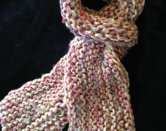 Hand Knit Scarf in Soft Pink and Tan
