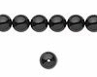 10 Mystic Black Swarovski Crystal Pearl Beads, 8mm round.