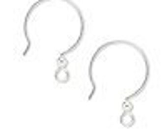 2 pairs of French hook earwires with 23mm open loop and 3mm ball, 21 gauge, sterling silver-filled.