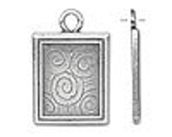 One antiqued silver-plated pewter  24x20mm single-sided rectangle frame with swirl design.
