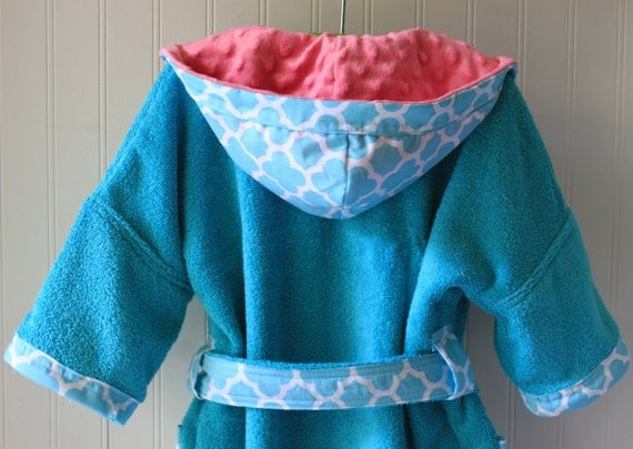 Child-Robes-Boy-Girls-Girl-Bath-Boys-Robe-Auqua-Blue-Quatrefoil-Coif-Sleepwear-Childrens-Spa-Beach-Towels-Hooded-Swim-Suit-Terry-Cover Up