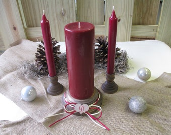 Christmas Winter Holiday Wooden Candle Set - Rustic with Monogram and Cord - Item 1618