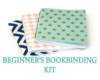 SALE - Craft Kit - Bookbinding for Beginners - Make Three Pamphlet Stitch Notebooks