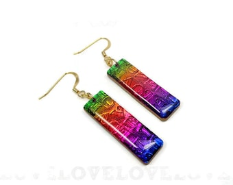 Rainbow LOVE Earrings- polymer clay jewelry- Resin earrings