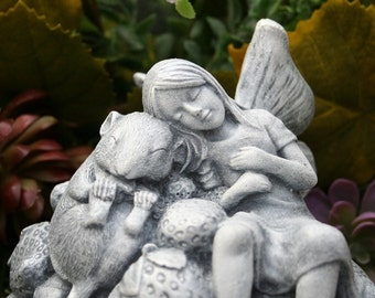 Sleeping Fairy Statue - Sleeping Fairy & Her Pet Mouse - Fairy Garden Concrete Garden Art