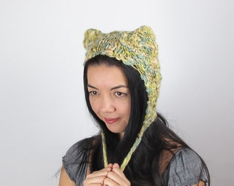 Yellow Yellow Kitty Hat Cat Hat Lemon Yellow and Lime Green Wool Hand Knit