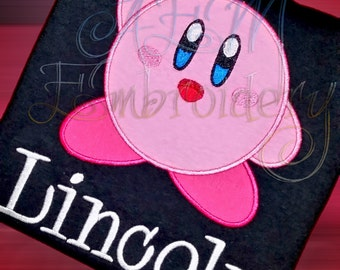 Kirby Personalized Applique Short Sleeved T Shirt