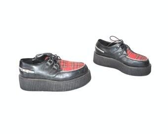 vintage DEMONIA creepers 80s new wave PUNK rock tartan plaid chunky platform oxford shoes size 9