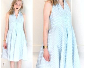 1960s halter dress 60s vintage dress blue + white polka dot full skirt sun dress RETRO mid century rockabilly dress