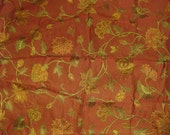 """Silk Blend Jacobean Floral Butterfly Embroidered Designer Fabric Remnant Salmon Burgandy Gold 35"""" x 43"""""""