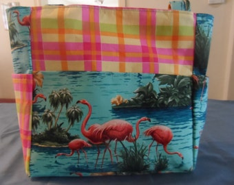 flamingos bird pink blue plaid  bag/purse/ diaper bag