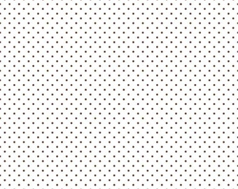 Riley Blake Designs, Swiss Dots Brown on White (C660 90)