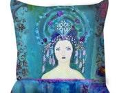 Blue Vintage Woman Art ~ Goddess Pillow ~ Goddess Art ~Bohemian Gypsy Decor ~ Bohemian Pillow ~ Vintage Lady Art ~