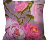 Decorative throw pillow pink roses taupe