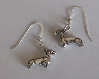 Sterling Silver 3D DACHSHUND Earrings - Dog