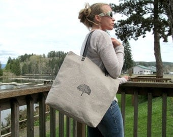 Natural Linen Tote with Leather Straps // LINEN SUMMERTIME TOTE // Linen and Canvas Bag