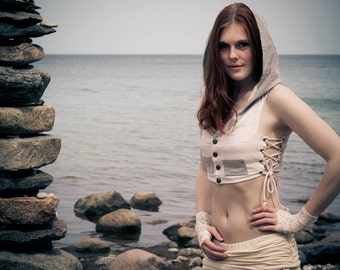 Sale - LOTUS HOODIE VEST - Cropped Waist coat - Hippie Boho Pixie Steampunk Steam punk Burning man - Off white Ivory Cream Blue Stripy