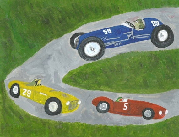 car race painting - The race. Original oil painting by Vivienne Strauss.