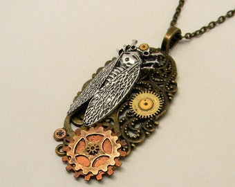 Steampunk jewelry cicada necklace pendant.
