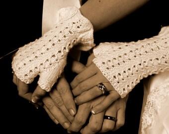 KNITTING PATTERN: Ruffled Romance Lacy Fingerless Gloves