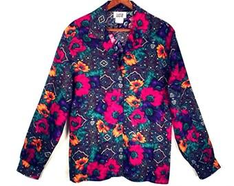80's FLORAL vintage blouse // rayon paisley blouse // women's L size 12