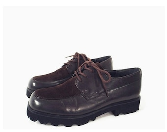 90's vintage HUSH PUPPIES oxfords // chunky sole // dark brown // lace-up oxford shoes 6