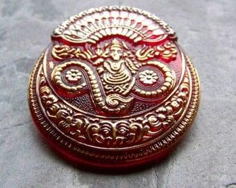 Vintage Button-Buddha Button-Vintage Stunning Rare Czech Handmade Bohemian Large Red Buddha Glass Button-1