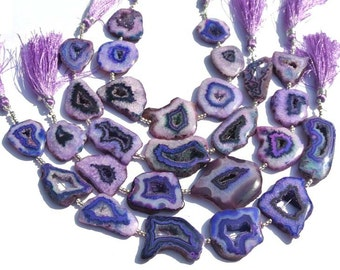 8 Inches Purple Druzy Agate Geode Slice beads 6 Pieces Purple Agate Slab Beads Size 23 - 39mm approx