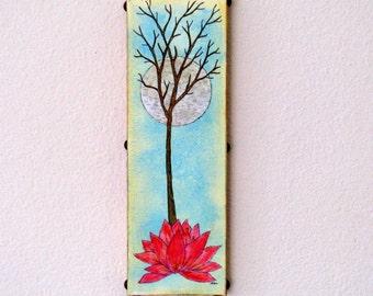 Base of Change 36 original mixed media tree lotus art