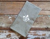 Fleur de Lis Vintage Style Blue Ticking Stripe Towel