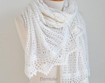 White lace crochet shawl,  N305