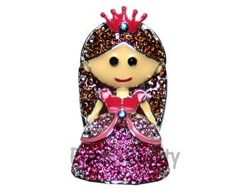 NEW 1.25 inches ONE Character Sparkle Flat back Center - BLINGED Princess