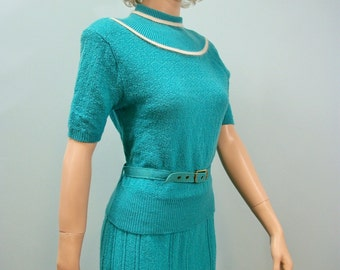 40s Sweater Dress / Two Piece Skirt & Belted Top / Turquoise Blue Sweater Set / S M