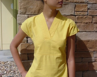 Repurposed Yellow Monk Tunic/100% Cotton/Cap Sleeve Spring Top