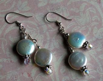 White Double Coin Pearl Wedding earrings w/ Swarovski & Silver Chain