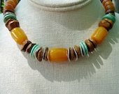 Necklace, Sante Fe, Brown Turquoise Golden-Yellow Bright Silver, LG Smooth Gemstone Beads, Earthy and Organic, Southwestern Adobe Daydreams