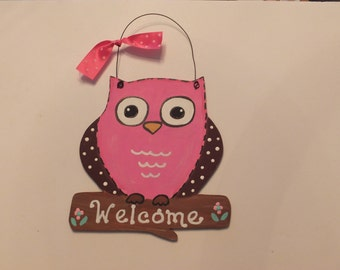Owl Wall Hanging - Pink