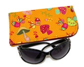 Eyeglass or Sunglass Case Magnificent Mushrooms on Orange Protective Padded Pouch Choose your Size