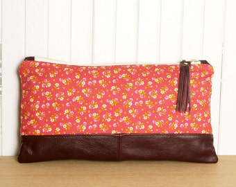 Clutch Handbag in Red Floral Print and Genuine Leather Zip Travel Pouch with Tassel Detail