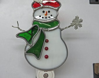 Snowman Night light - Snowman Nightlight with Carrot Nose -  Stained Glass Night light
