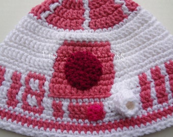 Pink Star Wars Inspired R2-D2 Hat Adult or Teen Size Hand Crocheted