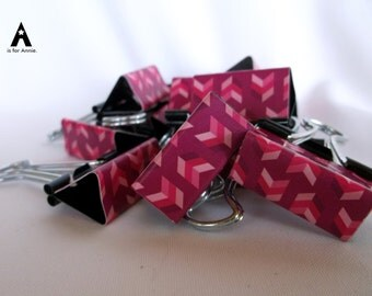 "Binder Clips - ""Raspberry Herringbone"" 12 medium binder clips"