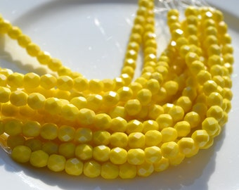 Bright Yellow Saturated 6mm Round Fire Polish Czech GLass Beads  25