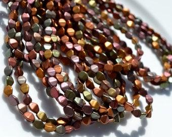 Matte Bronze and Gold Metallic Pinch Czech Glass Beads  50