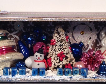 Let is Snow shadow box diorama recycled cigar box